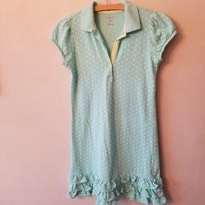 Lands End Mint Polka Dot Girls Ruffle Hem Dress 14